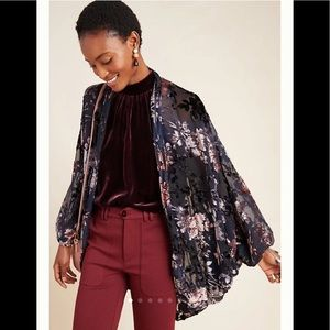 NWT Anthropology Fern Burnout Velvet Kimono